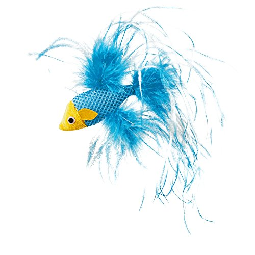 Leaps & Bounds Feathered Fish Cat Toy with Catnip, 4.5