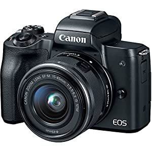 Canon EOS M50 15-45mm f/3.5-6.3 is STM Mirrorless Digital Camera Bundle, Canon 2680C011, Includes 64GB U3 Video Memory Card, Camera Bag + Mic + Compact Monopod + Filter Kit & More