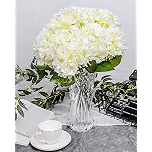 LUSHIDI Artificial Silk Flower 5 Heads Cherry Blossom Bouquet for Home Wedding Decor (Off White) 70