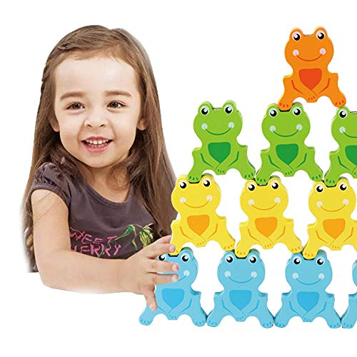 (Gbell Balance Game Building Blocks Puzzle Toy,Wooden Multicolor Frog Early Educational Table Game Toys 16Pcs/Set for Baby Toddler Boys Girls Kids,28×4×18.5CM (Multicolor))