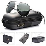 LUENX Mens Womens Sunglasses Aviator Polarized Dark Green Lens Gun Metal Frame - UV 400 Protection 60mm Driving