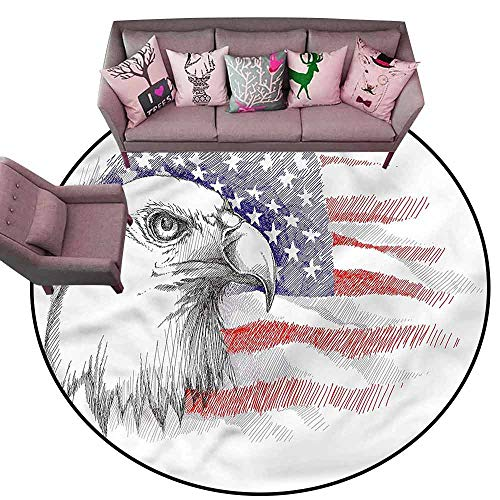 Bathroom Carpet 4th of July,Bald Eagle Portrait Diameter 48