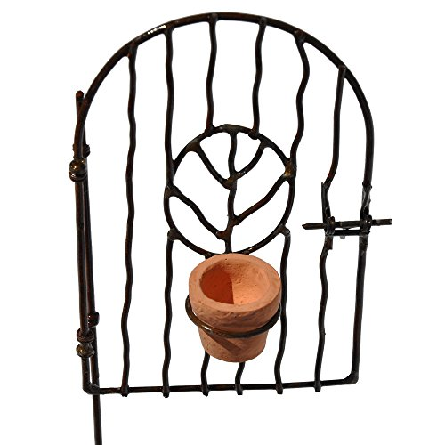 Miniature Fairy Garden Vine Gate with Pot
