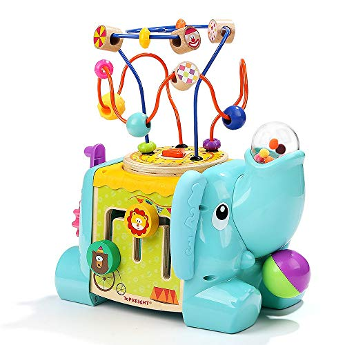 Top Bright Wooden Activity Cube for 1 2 Year Old Baby Boy Girl Toy, Toddler Learning Developmental Gift with 5 Activities, Abacus, Bead Maze Endless Fun ()