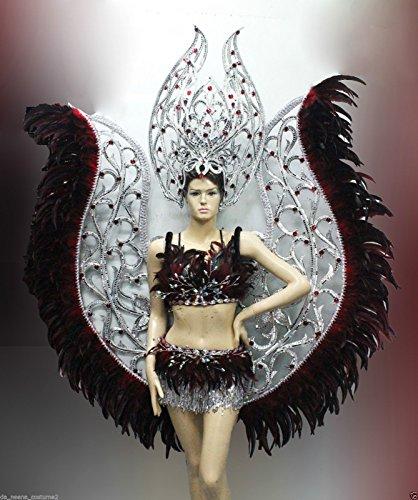 Da NeeNa Vegas Showgirl Burlesque Festival Cabaret Bat Wings Costume Set -