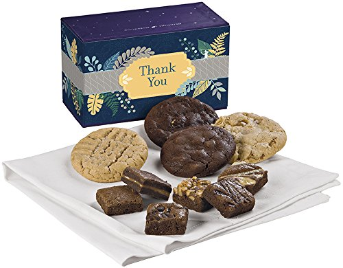 Fairytale Brownies Thank You Treasure Cookie & Magic Morsel Combo Gourmet Food Gift Basket Chocolate Box - 1.5 Inch x 1.5 Inch Bite-Size Brownies and 3.25 Inch Cookies - 10 Pieces
