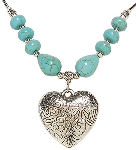 (Necklace - Silver Tone Turquoise Floral Heart)