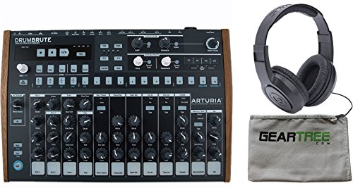 Arturia DrumBrute Drum Brute Analog Drum Machine w/ Geartree Cloth and Headphones by Arturia