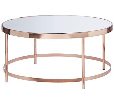 Colección de cristal redondo parte superior mesa de café, chapado ...