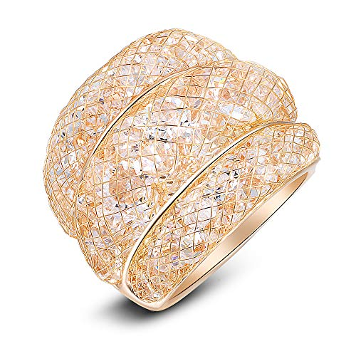 Mytys Mesh Crystal Chunky Ring Net Cubic Zirconia Cooktail Ring 18k Rose Gold (8)