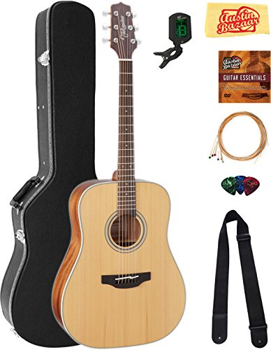 Takamine GD20NS Dreadnought Acoustic Guitar - Natural Satin Bundle with Hard Case, Tuner, Strap, Strings, Picks, Austin Bazaar Instructional DVD, and Polishing Cloth