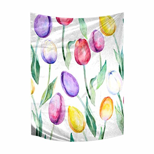 INTERESTPRINT Floral Spring Flower Tulips Cotton Linen Tapestry Wall Art Home Decor, Tapestries Wall Hanging Art Sets, 60W X 80L Inch ()