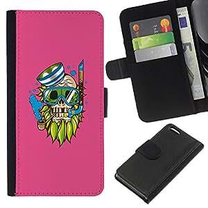 NEECELL GIFT forCITY // Billetera de cuero Caso Cubierta de protección Carcasa / Leather Wallet Case for Apple Iphone 5C // Goth inconformista del cráneo del pirata - Pop Art