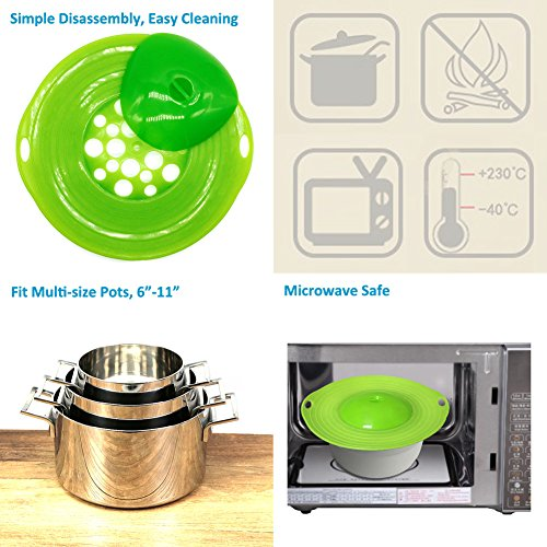 MIBOW Spill Lid Stopper for Pots and Pans, Safeguard for Over-boiling and Spills on Your Stove, BPA-free Silicone, Easy to Clean,Green