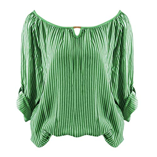 Clearance Women Tops LuluZanm Casual Loose Tops Tunic Blouse Long Sleeve Striped Print T-shirts (Striped Banana Satin)