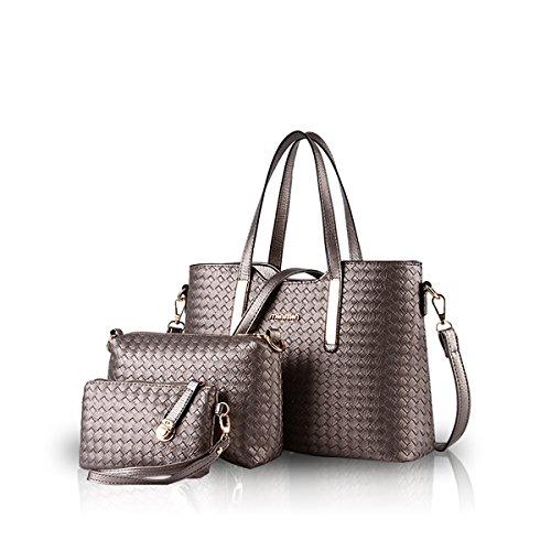 NICOLE & DORIS Damen Handtaschen 3 Stück Handtasche Set für Damen Totes Taschen Umhängetaschen Schultertaschen Bronze