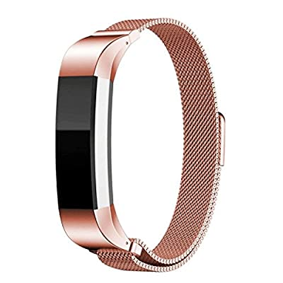 Fitbit Alta HR and Alta Bands Metal, Milanese Stainless Steel Replacement Accessories Metal Small & Large Band for Fitbit Alta HR and Alta, Silver, Gold, Blue, Black, Rose Gold, Colorful