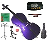 Merano 4/4 Full Size Purple Student Cello with Bag and Bow+2 Sets of Strings+Cello Stand+Black Music Stand+Metro Tuner+Rosin+Rubber Round Mute
