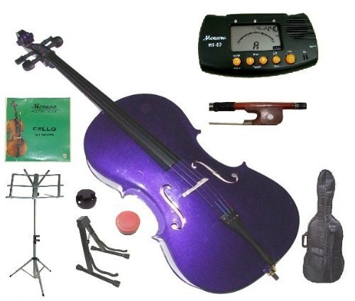 Merano 4/4 Full Size Purple Student Cello with Bag and Bow+2 Sets of Strings+Cello Stand+Black Music Stand+Metro Tuner+Rosin+Rubber Round - Cello Purple