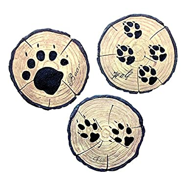 Set of 3 10'' Bear, Fox, and Wolf Paw Print Stoneware Garden Stones