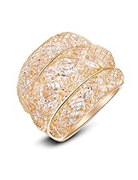 Mytys Mesh Crystal Bulky Jewelry Fashion Rose Gold Ring for Women