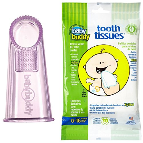 Amazon.com: Baby Buddy Wipe N Brush Silicone Toothbrush and Dental Wipe Assistant, Blue: Baby