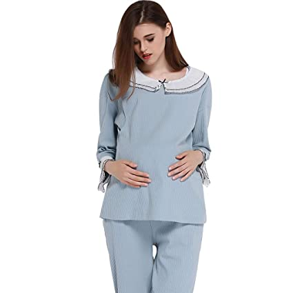 a803629361ef Camicie da notte Pigiama Donna Incinta da Notte in Cotone Grigio-Blu Set di  Abiti per la Gravidanza Set per Allattamento ...