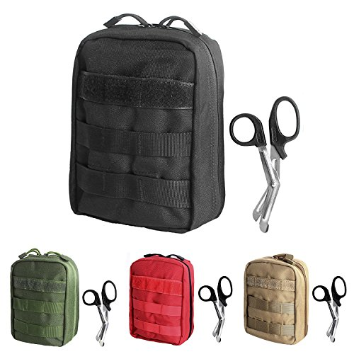 Tactical MOLLE EMT Pouch Medical Utility Bag 1000D Nylon with First Aid Patch and Shear