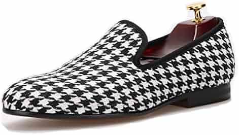 5dee7aa7afaa4 HI&HANN Swallow Gird Cotton Fabric Men Dress Shoes Slip-on Loafer Round  Toes Smoking Slipper