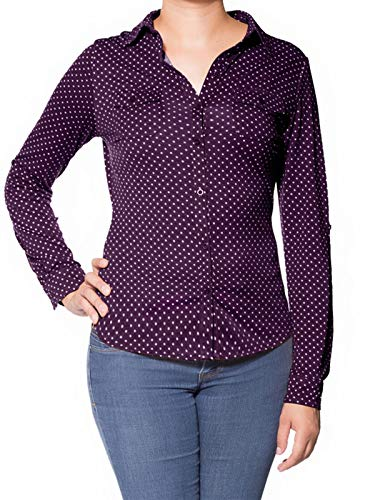 Design by Olivia Women's Long Sleeve Casual Polka
