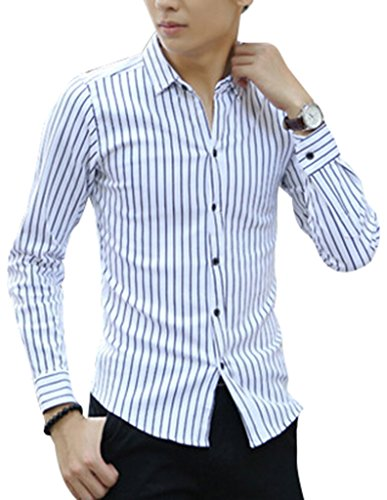 VENTELAN Men's Long Sleeve Cotton Casual Korean Fashion Stripe Button Down Shirt