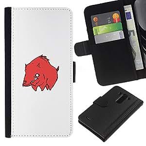KLONGSHOP // Tirón de la caja Cartera de cuero con ranuras para tarjetas - Cerdo Bore Red - LG G3 //