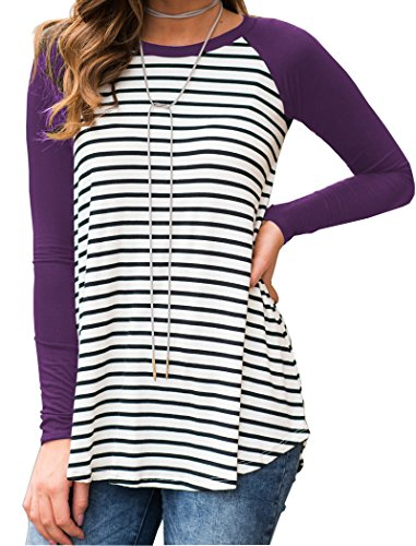 (Halife Black and White Striped Shirts for Leggings for Women Raglan Sleeve Purple XL)