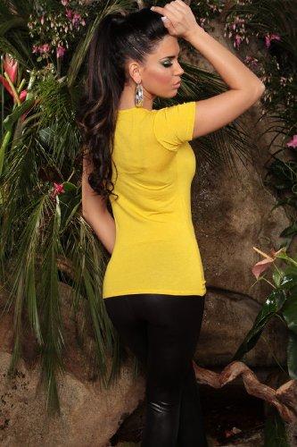"""KouCla Damen T-Shirt Top Longshirt """"Glam"""" Rundhals-Auschnitt - Gelb, 42/44"""