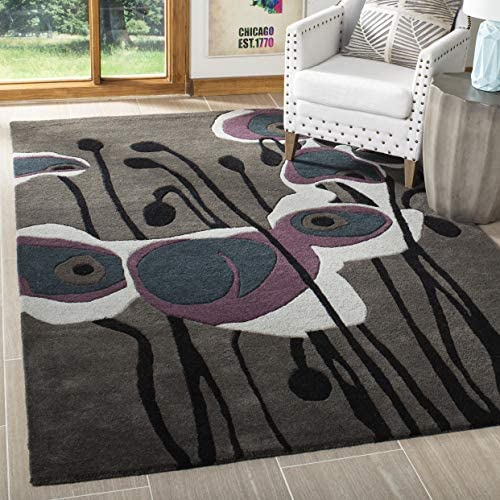 Safavieh Soho Collection SOH853A Handmade Abstract Grey and Blue Premium Wool Area Rug 8' x 10'
