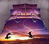 3d Romantic Purple Love Heart Dance Print Bedding Sets, 100% Cotton Queen Size 3d Bedding Sets, 4pcs with Duvet Cover, Bed Sheet, 2*pillow Case (Comforter Not Included)