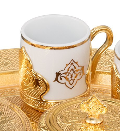 21 Pieces Unique Stunning Espresso Turkish Greek Coffee Serving Set - Porcelain Cups with Tray and Sugar Bowl - Vintage Design Ottoman Arabic Gift Set, Gold by LaModaHome (Image #2)