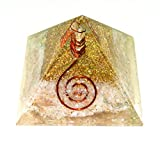 Rose Quartz Chakra Orgone Reiki Healing Pyramid with Copper Coil Crystal Point - 55-62 MM