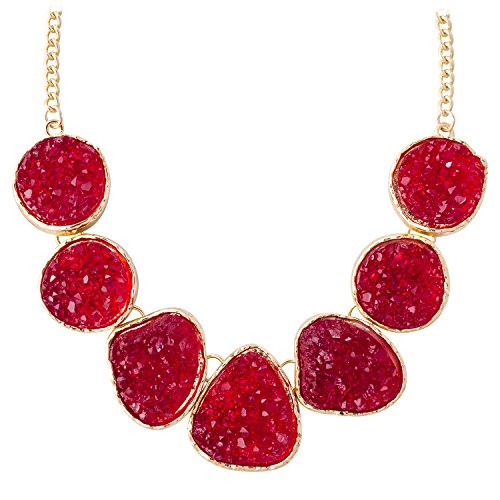 Jane Stone Hot Selling Necklace, Rhinestone Red Necklace Chunky Statement Jewelry Fashion Bib Necklace Unique Trendy Strand Necklace Custom Evening Jewelry(Fn0833-Ruby)