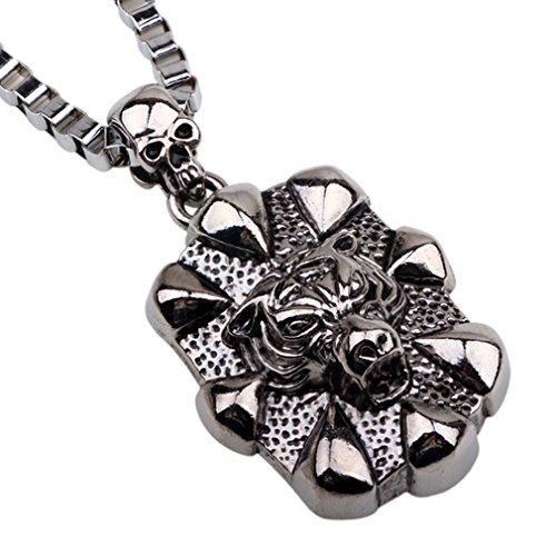 G&T Jewelry Stainless Steel National Style Men's Retro Alloy Leopard Head Pendant Necklace - Costume National Shoes Australia
