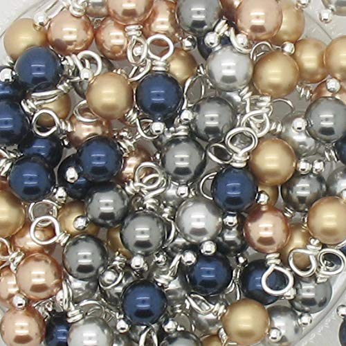 30 Swarovski Crystal Glass Pearl Dangles - 6mm Swarovski Pearl Bead Charms - Gold Silver Navy ()