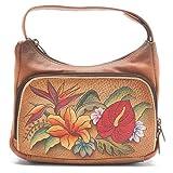 Anuschka Women's Compact Crossbody Travel Organizer Casual Handbag,Tropical Paradise