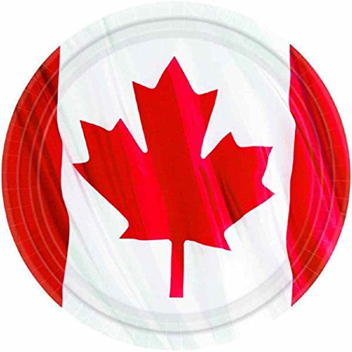 """Custom & Unique {7"""" Inch} 12 Count Multi-Pack Set of Medium Size Round Circle Disposable Paper Plates w/ Waving Canadian Maple Leaf Flag Design """"Red & White Colored"""""""