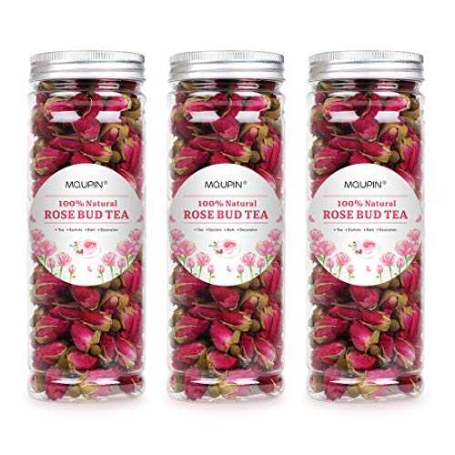 (MQUPIN Organic Rose Bud Tea Dried Red Rose Petal Flower Edible Buds Detox Tea 250g/3Packs)