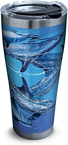 Tervis 1293630 Guy Harvey-Dolphins Tumbler with Clear and Black Hammer Lid, 30 oz Stainless Steel, Silver