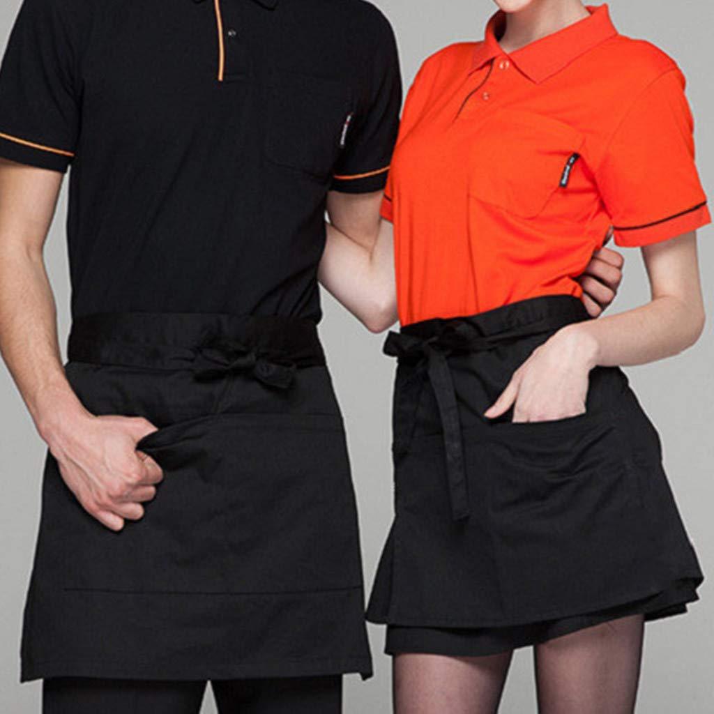 Sugely Waist Short Apron Hotels Restaurant Cafe Waiters and Waitresses Uniforms Aprons,Unisex 2 Pockets Waist Apron Restaurant Bistro Works Half Aprons