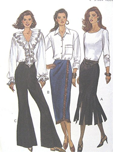 Amazon.com: Misses Skirt Wide Leg Pants Sewing Pattern Tucked ...