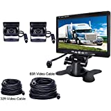 Podofo Backup Camera Vehicle Parking System for Motorhome/RV/Bus/Trailer/Truck 2 x Car Reverse Cameras Waterproof 18 IR LED Night Vision + 7 TFT Rear View Monitor (32ft/65ft Video Cable together)