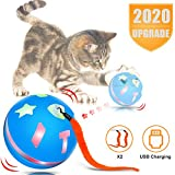 uniwood Interactive Cat Toy Ball, USB Rechargeable Motion Ball, 360 Degree Self Rotating Ball with...