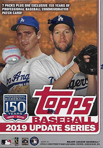 2019 Topps Traded and Update Series Baseball Unopened Blaster Box with 99 Cards including One EXCLUSIVE 150th Anniversary Commemorative Patch Card and Two Perennial All Stars and Possible Rookies Autographs and Jersey Cards